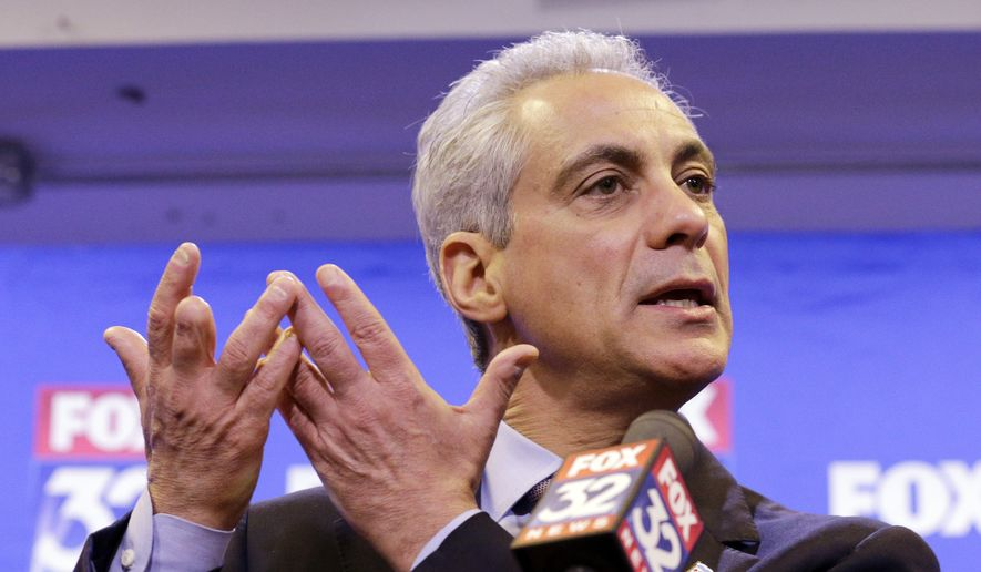 Chicago Mayor Rahm Emanuel responds to a reporter's question after the second of three televised debates against Cook County Commissioner and Chicago mayoral candidate Jesus Garcia, ahead of next month's runoff election, Thursday, March 26, 2015, in Chicago. (AP Photo/Nam Y. Huh)