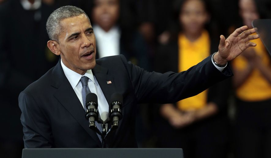 President Barack Obama speaks about payday lending and the economy, Thursday, March 26, 2015, at Lawson State Community College in Birmingham, Ala.  (AP Photo/Butch Dill)