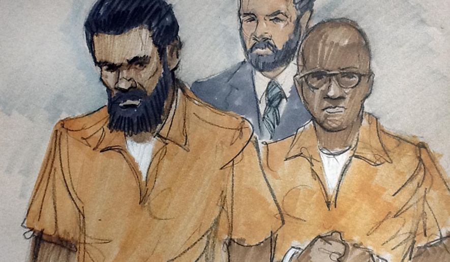 In this courtroom sketch, Jonas M. Edmonds, left, and Hasan R. Edmonds, right, stand in front of an FBI agent as they appear at a hearing at federal court in Chicago, Thursday, March 26, 2015, following their arrests Wednesday on charges of conspiring with the Islamic State group. Hasan Edmonds, an Illinois Army National Guard soldier, and his cousin, Jonas Edmonds, are both U.S. citizens from the Chicago suburb of Aurora. (AP Photo/Tom Gianni)