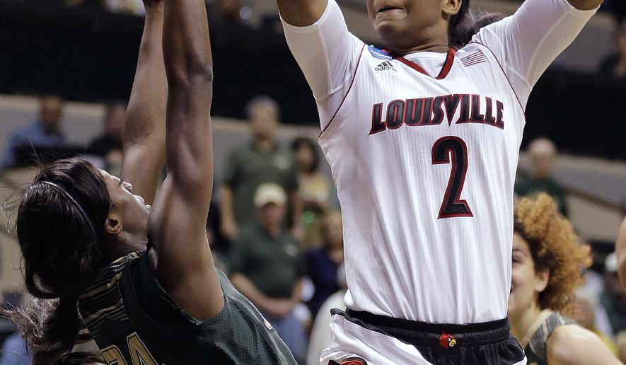 Louisville forward Myisha Hines-Allen (2) shoots over South Florida forward Alisia Jenkins (24) during the second half of a women's NCAA tournament second round basketball game Monday, March 23, 2015, in Tampa, Fla.  Louisville won the game 60-52. (AP Photo/Chris O'Meara)