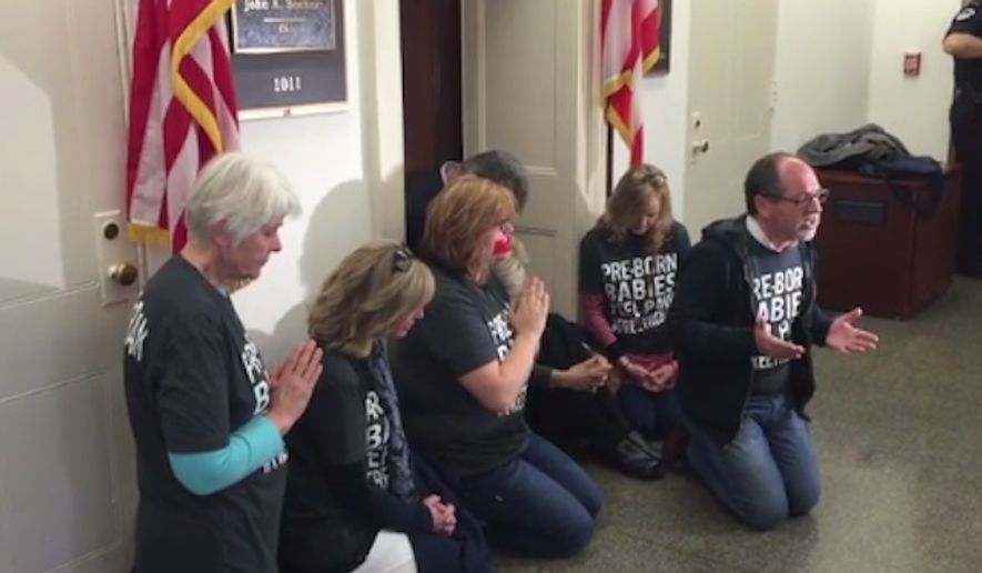 Seven pro-life activists were reportedly arrested by U.S. Capitol police on Wednesday after staging a prayer protest outside the office of House Speaker John Boehner. (MRCTV)