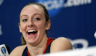 Dayton forward Ally Malott laughs during a news conference for a women's college basketball regional semifinal game in the NCAA Tournament on Friday, March 27, 2015, in Albany, N.Y. Dayton plays Louisville on Saturday. (AP Photo/Mike Groll)