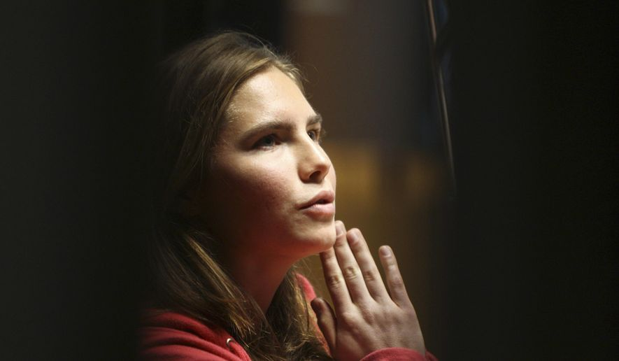 FILE -- In this file photo taken on Nov. 21, 2009, Amanda Knox reacts during a hearing at Perugia's court, Italy. American Amanda Knox and her Italian ex-boyfriend Raffaele Sollecito expect to learn their fate Friday when Italy's highest court hears their appeal of their guilty verdicts in the brutal 2007 murder of Knox's British roommate Meredith Kercher. Several outcomes are possible, including confirmation of the verdicts, a new appeals round, or even a ruling that amounts to an acquittal in the sensational case that has captivated audiences on both sides of the Atlantic.  (AP Photo/Alessandra Tarantino)