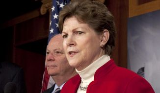 FILE - In this Dec. 16, 2010 file photo, Sen. Jeanne Shaheen, D-N.H. speaks during a news conference on Capitol Hill in Washington. The Senate approved a long-delayed bill to boost energy efficiency Friday that includes incentives to cut energy use in commercial buildings, manufacturing plants and homes. (AP Photo/Harry Hamburg, File)