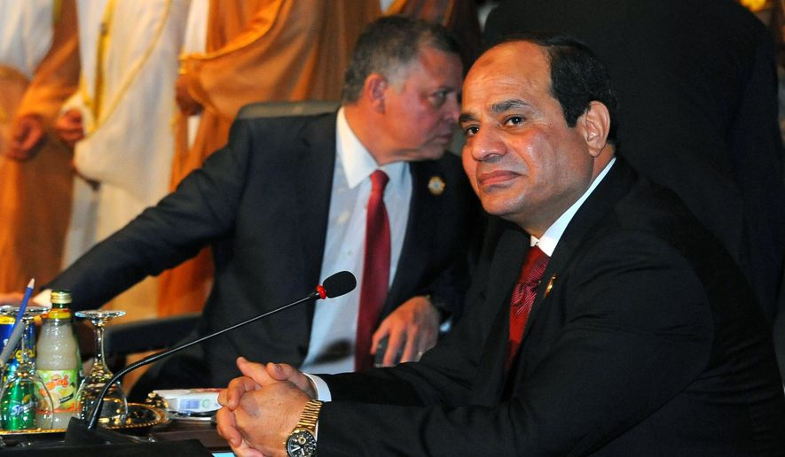 """Egyptian President Abdel-Fattah el-Sissi attends a meeting of Arab heads of state, in Sharm el Sheik, South Sinai, Egypt, Saturday, March 28, 2015. El-Sissi endorsed a resolution adopted by Arab foreign ministers on Thursday for the creation of an Arab military force, saying the Arab world was currently facing unprecedented threats. He also described as """"inevitable"""" the Saudi-led intervention in Yemen. (AP Photo/MENA, Mohammed Samaha)"""