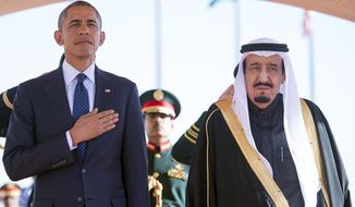 Saudi King Salman bin Abdulaziz (right) quickly put together a coalition last week to raid Yemen by air and position forces for an incursion by land. The regime has told President Obama that it simply will not tolerate an Iranian puppet state on its border. (Associated Press)