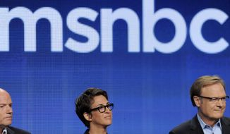 """FILE -  In this Aug. 2, 2011 file photo, Phil Griffin, left, president of MSNBC, Rachel Maddow, center, host of """"The Rachel Maddow Show,"""" and Lawrence O'Donnell, host of """"The Last Word,"""" take part in a panel discussion on the show at the NBC Universal summer press tour, in Beverly Hills, Calif. Griffin has run MSNBC since 2006. Normally, executives at networks with his ratings are looking for another job, especially with a new boss coming in. But he and Andy Lack have a long relationship, and Griffin has credited Lack with kick-starting his career by assigning him to supervise NBC News coverage of the O.J. Simpson case.  (AP Photo/Chris Pizzello, File)"""