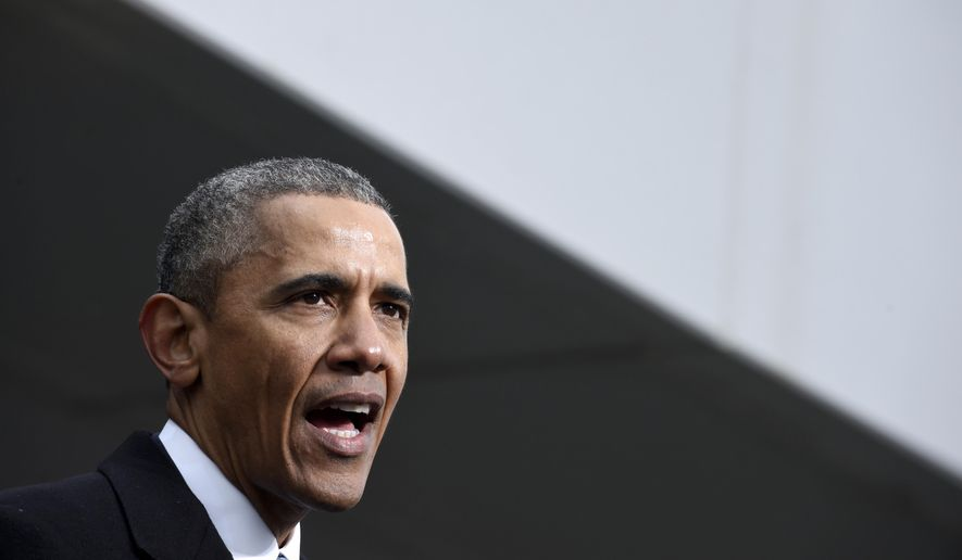 President Barack Obama speaks at the dedication of the Edward M. Kennedy Institute for the United States Senate, Monday, March 30, 2015, in Boston. The $79 million Edward M. Kennedy Institute for the United States Senate dedication is a politically star-studded event attended by President Barack Obama, Vice President Joe Biden and past and present senators of both parties. It sits next to the presidential library of Kennedy's brother, John F. Kennedy. (AP Photo/Susan Walsh)