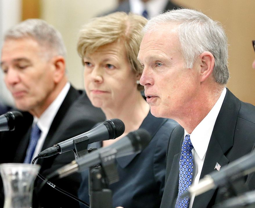 U.S. Sen. Ron Johnson, R-Wis., speaks during a Joint Hearing of the Committee on Homeland Security and Governmental Affairs of the U.S. Senate and the Committee on Veterans' Affairs of the U.S. House of Representatives Monday, March 31, 2015 in Tomah, Wis. The committees heard testimony on allegations of narcotic overprescribing practices and retaliatory behavior at the Tomah VA hospital. (AP Photo/La Crosse Tribune, Erik Daily) **FILE**