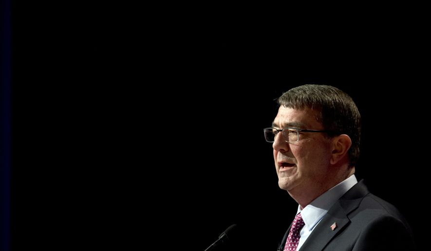 File-This March 6, 2015, file photo shows Defense Secretary Ash Carter, speaking during a ceremonial swearing-in ceremony at the Pentagon.  Carter is considering easing some military enlistment standards as part of a broader set of initiatives to better attract and keep quality service members and civilians across the Defense Department. While there are few details yet, Carter is exploring whether to adjust some of the requirements for certain military jobs, such as those involving cyber or high-tech expertise.  (AP Photo/Manuel Balce Ceneta)