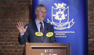 President and CEO of the Associated Press Gary Pruitt delivers a speech at the Hong Kong Foreign Correspondents' Club Monday, March 30, 2015. The Associated Press is calling for changes to international laws that would make it a war crime to kill journalists or take them hostage, the news agency's president said on Monday. (AP Photo/Kin Cheung)