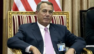 Speaker of the United States House of Representatives John Boehner meets with Salim al-Jabouri, speaker of the Iraqi Parliament in Baghdad, Iraq, Monday, March 30, 2015. (AP Photo/Karim Kadim)