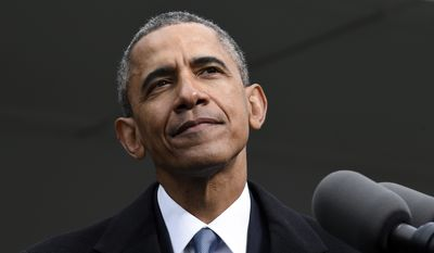 President Barack Obama speaks at the dedication of the Edward M. Kennedy Institute for the United States Senate in Boston, Monday, March 30, 2015. The $79 million Edward M. Kennedy Institute for the United States Senate dedication is a politically star-studded event attended by President Barack Obama, Vice President Joe Biden and past and present senators of both parties. It sits next to the presidential library of Kennedy's brother, John F. Kennedy. (AP Photo/Susan Walsh)