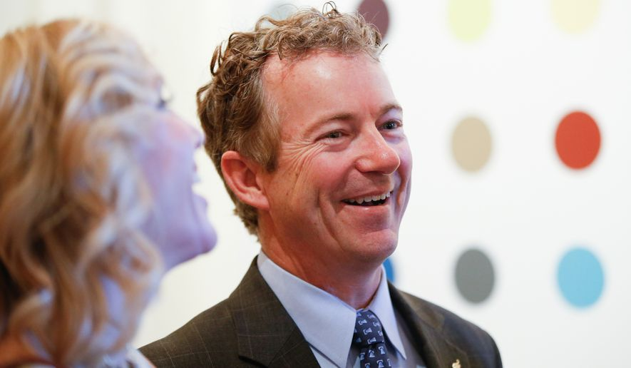 Sen. Rand Paul's wife, Kelly, will be with him at the Louisville opener and may join him at other stops on the five-day, five-state launch. (Associated Press)