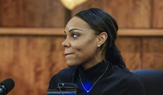 Shayanna Jenkins, fiancee of former New England Patriots football player Aaron Hernandez, testifies during his murder trial, Friday, March 27, 2015, in Fall River, Mass. Hernandez is charged with killing Odin Lloyd. (AP Photo/CJ Gunther, Pool)