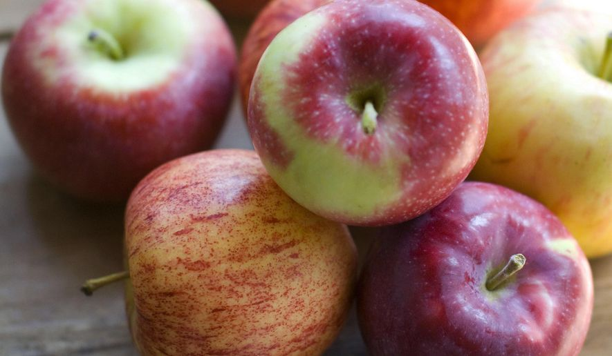 """This Aug. 30, 2012, file photo, shows a variety of apples in Concord, N.H. A study published Monday, March 30, 2015, in JAMA Internal Medicine challenges the old adage: """"An apple a day keeps the doctor away,"""" finding daily apple eaters had just as many doctor visits as apple shunners. (AP Photo/Matthew Mead)"""