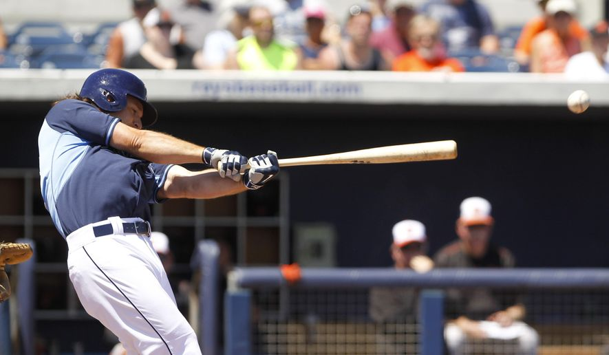 Tampa Bay Rays designated hitter John Jaso (28) fouls  in the first inning during the Spring Training game between the Tampa Bay Rays and Baltimore Orioles at Charlotte Sports Park in Port Charlotte, Fla. on Monday, March 30, 2015.  (AP Photo/Tampa Bay Times/Will Vragovic)    TAMPA OUT; CITRUS COUNTY OUT; PORT CHARLOTTE OUT; BROOKSVILLE HERNANDO TODAY OUT