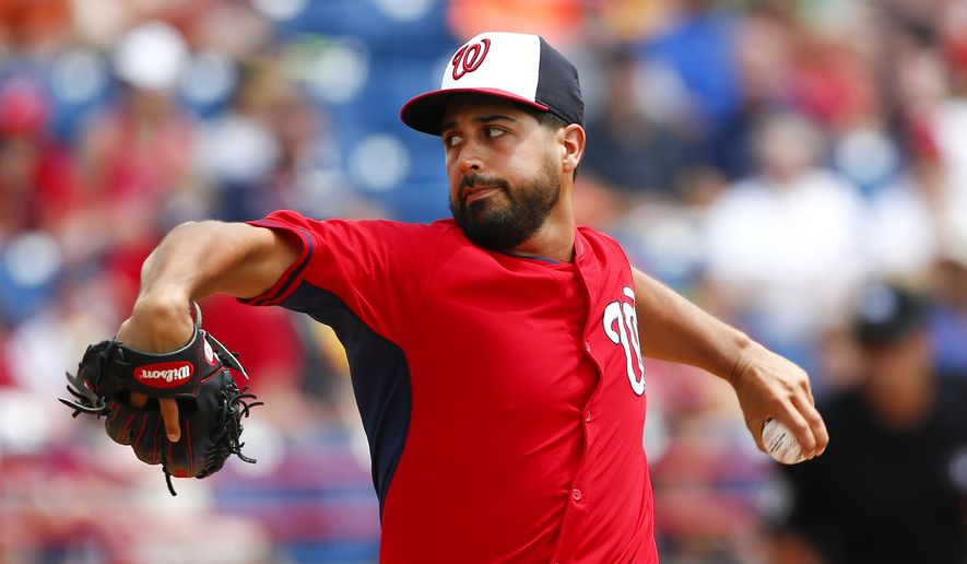 Washington Nationals starting pitcher Gio Gonzalez (47) works in the first inning of an exhibition spring training baseball game against the New York Mets Tuesday, March 31, 2015, in Viera , Fla. (AP Photo/John Bazemore)