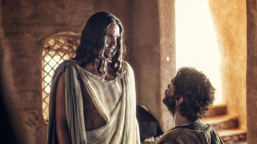 "Juan Pablo Di Pace portrays Jesus, left, and Johannes Haukur Johannesson portrays Thomas in a scene from NBC's ""A.D. The Bible Continues."" (Associated Press) ** FILE **"