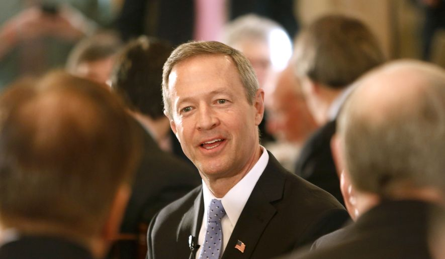 Former Maryland Gov. Martin O'Malley speaks with area business leaders during a Politics and Eggs breakfast, Tuesday, March 31, 2015, in Bedford, N.H. The stop is one of many for those seeking their party's nomination for president. (AP Photo/Jim Cole) ** FILE **