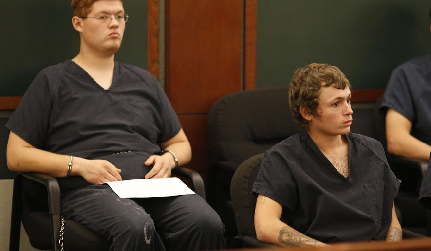 Erich Milton Nowsch Jr., right, and Derrick Andrews appear in court Tuesday, March 31, 2015, in Las Vegas. The two have been charged with the Feb. 12, 2014, fatal shooting of Tammy Meyers, 44, in a Las Vegas neighborhood cul-de-sac. (AP Photo/John Locher)