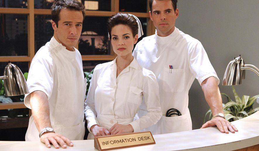 """This photo provided by ABC shows  Ryan Carnes, from left, Rebecca Herbst, and Jason Thompson, from ABC's Daytime """"General Hospital."""" The show airs Monday-Friday (3:00 p.m. - 4:00 p.m., ET) on the ABC Television Network. ABC's """"General Hospital"""" earned a leading 28 nominations for the Daytime Emmy awards, with four of its stars competing for honors as top actor and actress. (AP Photo/ABC, Rick Rowell)"""