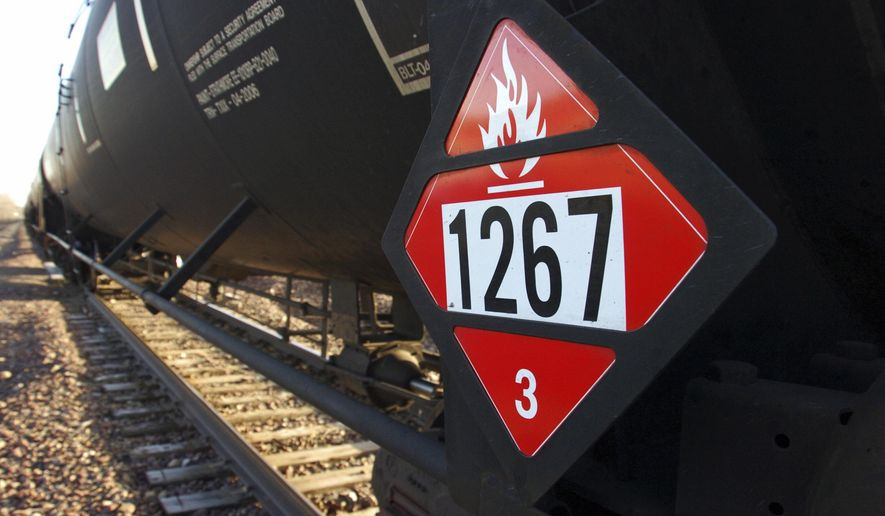 FILE - This Nov. 6, 2013 file photo shows a warning placard on a tank car carrying crude oil near a loading terminal in Trenton, N.D. In new rules that went into effect Wednesday, April 1, 2015, North Dakota is requiring oil companies to reduce the volatility of crude before it's loaded onto rail cars. Crude from North Dakota's oil patch has been linked to several fiery oil train crashes in the past two years.  (AP Photo/Matthew Brown, File)