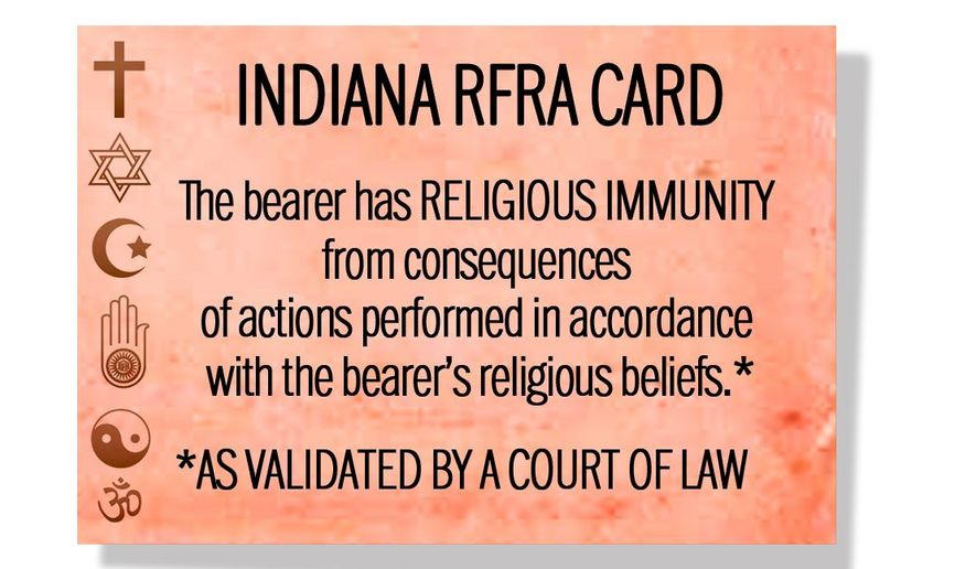 Illustration on ramifications of the RFRA laws by Alexander Hunter/The Washington Times