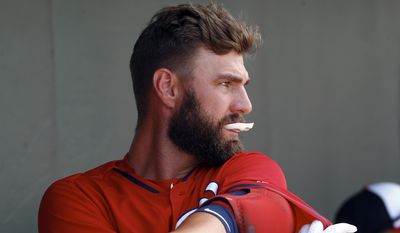 Washington Nationals left fielder Kevin Frandsen (19) gets ready to bat in an exhibition spring training baseball game against the Miami Marlins Tuesday, March 10, 2015, in Jupiter, Fla. (AP Photo/John Bazemore)