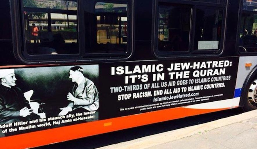 """An anti-Islam ad campaign hitting the streets of Philadelphia on Wednesday features Adolf Hitler having a sit-down meeting with """"leader of the Muslim world"""" Haj Amin al-Husseini. The same ads were launched on Washington D.C. buses, pictured here, last May. (Facebook/AFDI American Freedom Defense Initiative)"""