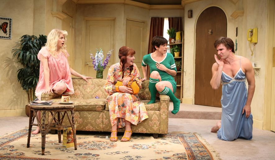 """FILE - This undated publicity file photo released by Kornberg PR shows, from left, Anna Chlumsky, Kate Buddeke, Hannah Cabell and Jake Silbermann in a scene from David Adjmi's play, """"3C,"""" performing off-Broadway at Rattlestick Playwrights Theater in New York. Adjmi, whose parody of 1970s sitcoms was accused of copyright infringement by lawyers representing the TV show """"Three's Company"""" won a victory in court. Loretta A. Preska, chief United States district court judge for the Southern District of New York, ruled Tuesday that David Adjmi, whose play """"3C"""" had a run at Rattlestick Playwrights Theatre in 2012, is protected under the doctrine of fair use. (AP Photo/Kornberg PR, Joan Marcus, File)"""