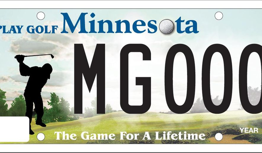 In this photo provided by the Minnesota Department of Public Safety is the state's new Play Golf Minnesota license plate. After some back and forth with plate promoters, state vehicle services officials have signed off on a design and say sales of the tags could begin in August, 2015. (AP Photo/Minnesota Department of Public Safety)