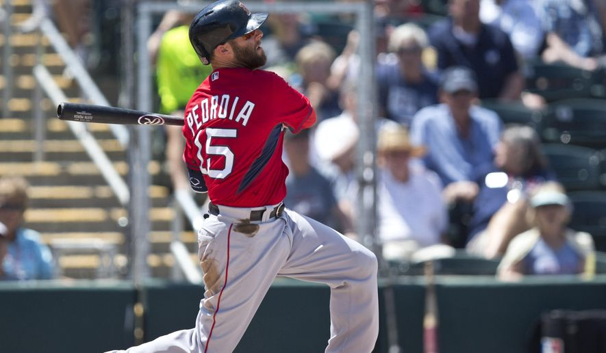 Boston Red Sox's Dustin Pedroia hit a single in the fifth inning during an exhibition spring training baseball game against the Minnesota Twins, Wednesday, April 1, 2015, in Fort Myers, Fla. (AP Photo/Brynn Anderson)