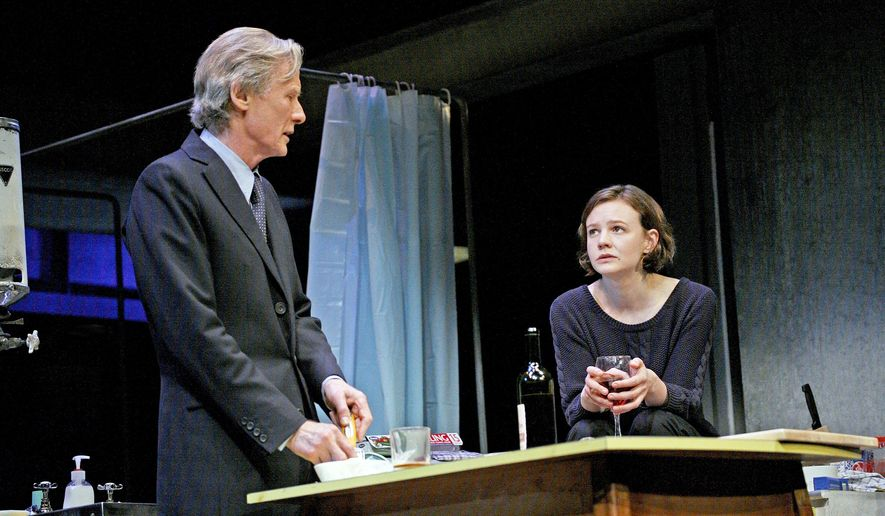 "In this image released by Philip Rinaldi Publicity, Bill Nighy, left, and Carey Mulligan appear during a performance of ""Skylight,"" opening Thursday, April 2, 2015 at the Golden Theater in New York. (AP Photo/Philip Rinaldi Publicity, John Haynes)"