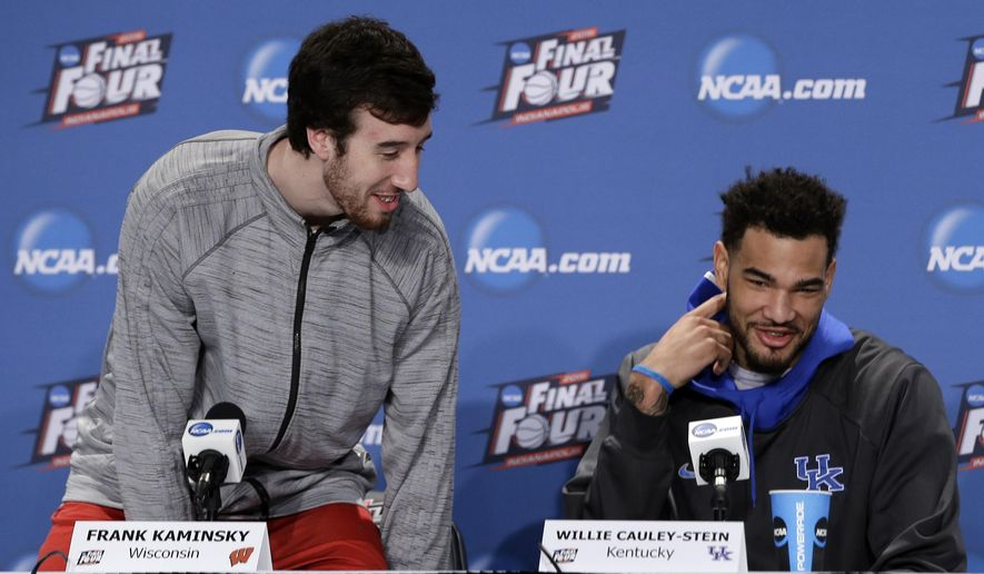 Wisconsin's Frank Kaminsky talks to Kentucky's Willie Cauley-Stein during a news conference for the NCAA Final Four tournament college basketball semifinal game Thursday, April 2, 2015, in Indianapolis. (AP Photo/Darron Cummings)