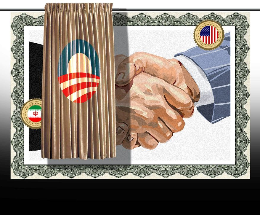 Illustration on the need to reveal the details of the U.S. Iran nuclear deal by Alexander Hunter/The Washington Times