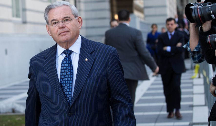 Sen. Bob Menendez, New Jersey Democrat, leaves federal court in Newark, New Jersey, after pleading not guilty to sweeping corruption charges. He is accused of using his office to improperly benefit an eye doctor and political donor. (Associated Press)
