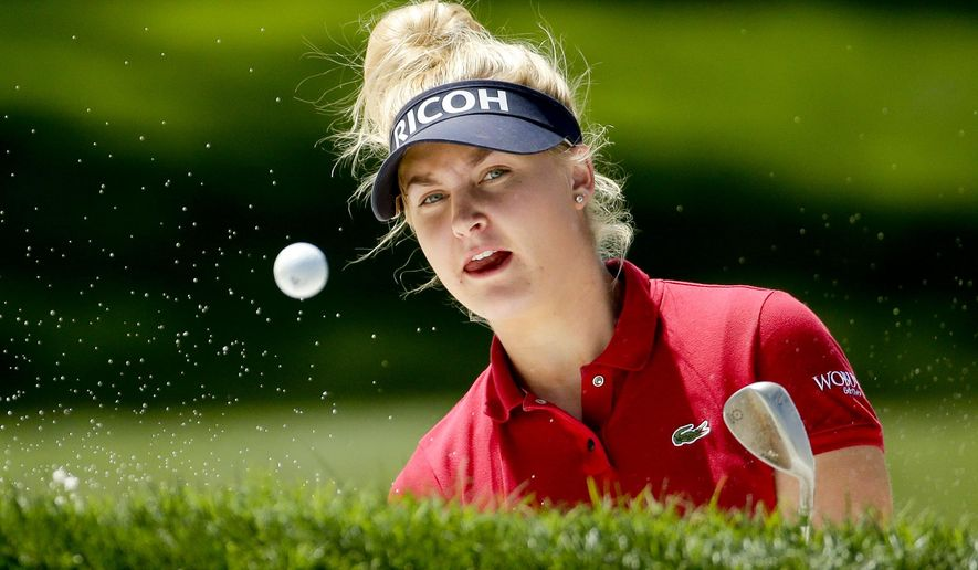 Charley Hull, of England, hits out of the bunker on the ninth hole during the first round of the LPGA Tour ANA Inspiration golf tournament at Mission Hills Country Club on Thursday, April 2, 2015 in Rancho Mirage, Calif. (AP Photo/Chris Carlson)