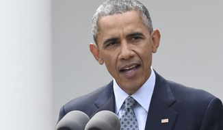 "President Barack Obama speaks the Rose Garden of the White House in Washington, Thursday, April 2, 2015,  about the breakthrough in the Iranian nuclear talks. The president heralded a framework nuclear understanding with Iran as an ""historic"" agreement that could pave the way for a final deal that would leave the U.S., its allies and the world safer.  (AP Photo/Susan Walsh)"