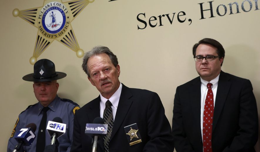 From left; Virginia State Police Lt. Ed Murphy, Pulaski County Sheriff Jim Davis, Pulaski County Commonwealth Attorney, Mike Fleenor, during a press conference in Pulaski Va. Thursday, April 2, 2015. Ashley Jennifer White and Paul Thomas, the parents of 5-year-old Noah Thomas were arrested and charged with felony child abuse and neglect Thursday in relation to the boy's death. (AP Photo/The Roanoke Times, Matt Gentry)