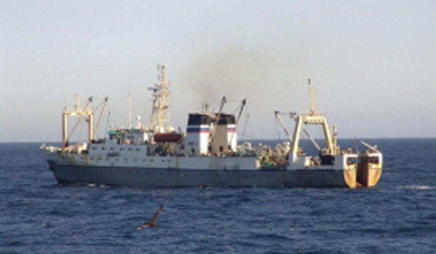 In this undated photo provided by Russian Emergency Situations Ministry, a Russian trawler, the same type as Dalny Vostok, is seen in an undisclosed location. The Russian freezer trawler Dalny Vostok with an international crew of 132 sank Thursday morning, April 2, 2015, in the Sea of Okhotsk off of the Kamchatka Peninsula, rescue workers said. (AP Photo/Russian Emergency Situations Ministry Press Service)