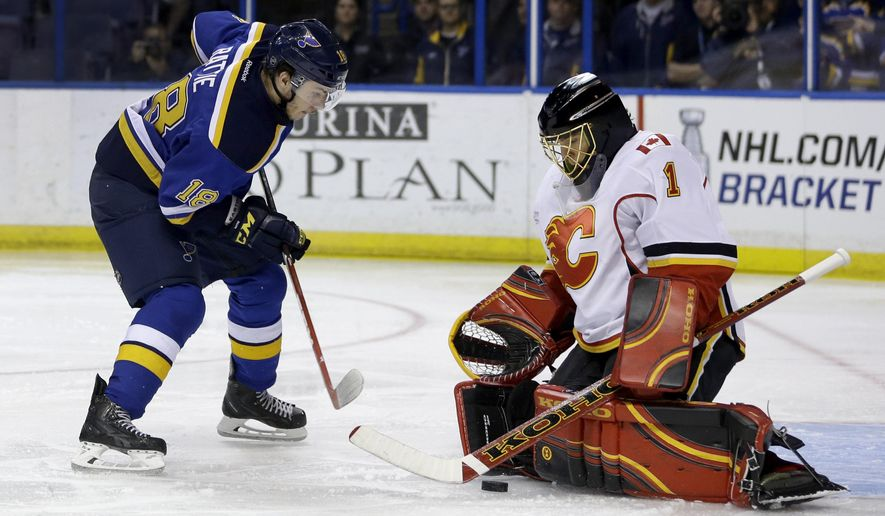 Calgary Flames goalie Jonas Hiller, of Switzerland, blocks a shot from St. Louis Blues' Ty Rattie, left, during the second period of an NHL hockey game Thursday, April 2, 2015, in St. Louis. (AP Photo/Jeff Roberson)