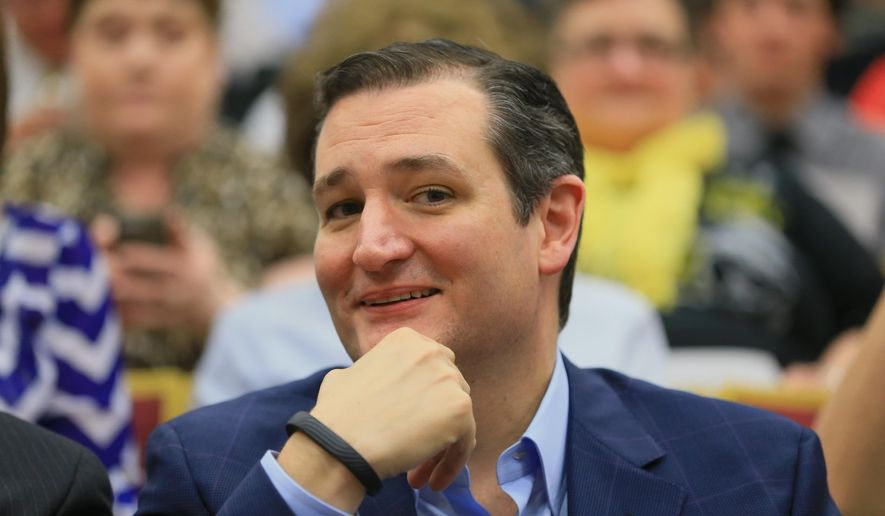 Republican presidential candidate Sen. Ted Cruz, R-Texas, smiles as he sits in the front row as he waits to be introduced before speaking at a town hall event at Morningside College in Sioux City, Iowa, Wednesday, April 1, 2015. (AP Photo/Nati Harnik)