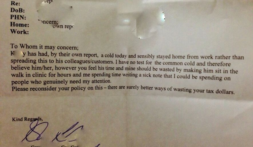 A Canadian doctor's alleged letter excusing an employee from one day of