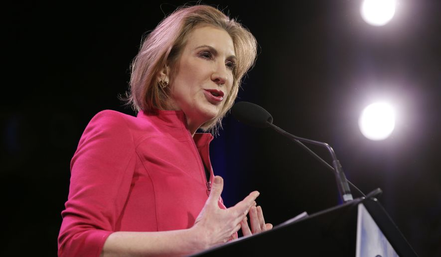 Former technology executive Carly Fiorina speaks during the Freedom Summit, in Des Moines, Iowa, on Jan. 24, 2015. (Associated Press) **FILE**