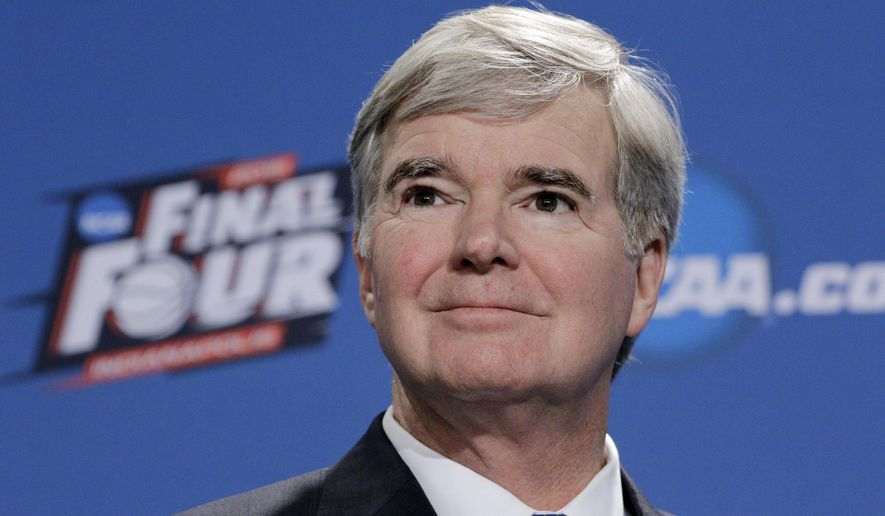 NCAA President Mark Emmert answers questions during a news conference at the Final Four college basketball tournament Thursday, April 2, 2015, in Indianapolis. (AP Photo/David J. Phillip)
