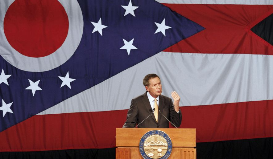 FILE - In this Feb. 24, 2015 file photo, Ohio Gov. John Kasich delivers his State of the State address at the Roberts Centre in Wilmington, Ohio. If Kasich joins the 2016 Republican presidential race, his friends and foes will be watching to see if his frenetic, unfiltered personality lights a fire in the contest or proves his undoing. You never really know with Kasich, a politician who can be just as abrasive as potential rival Chris Christie and may be even less guarded, now that the New Jersey governor is watching his words. (AP Photo/Skip Peterson, File)