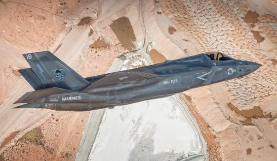 An F-35B takes part in a test mission near Edwards AFB in March, 2014. (Image: Lockheed Martin) ** FILE **