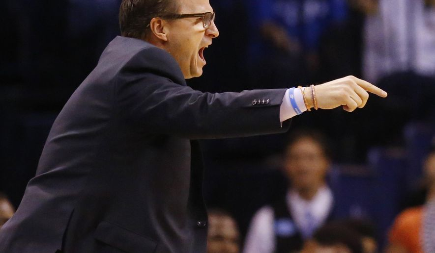 Oklahoma City Thunder head coach Scott Brooks shouts in the fourth quarter of an NBA basketball game against the Houston Rockets, Sunday, April 5, 2015, in Oklahoma City. Houston won 115-112. (AP Photo/Sue Ogrocki)