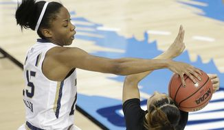 Notre Dame guard Lindsay Allen (15) hits the ball against South Carolina guard Bianca Cuevas (1) during the first half of the NCAA Women's Final Four tournament college basketball semifinal game, Sunday, April 5, 2015, in Tampa, Fla. (AP Photo/Chris O'Meara)